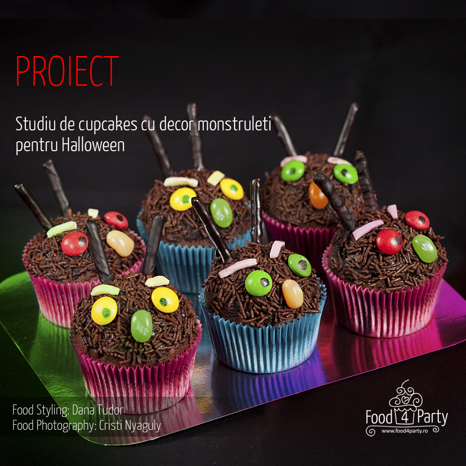 Food for Party - Proiect: Cupcakes monstrulet pentru Halloween