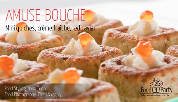 Mini quiche, crème fraîche, red caviar