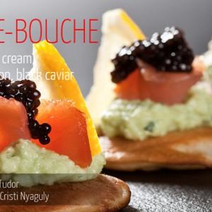 Blini, avocado cream, smoked salmon, black caviar