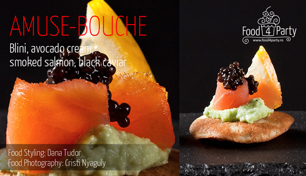 Blini, avocado cream, smoked salmon, black caviar