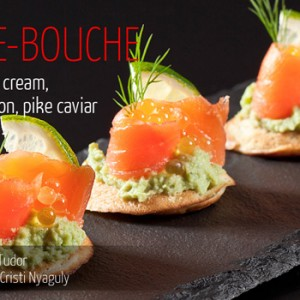 Blini, avocado cream, smoked salmon, pike caviar