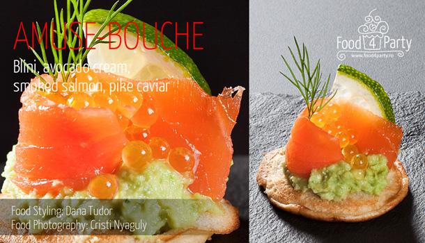 Blini, avocado cream, smoked salmon, pike caviar