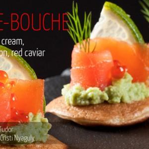 Blini, avocado cream, smoked salmon, red caviar