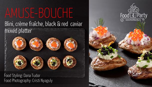 Blini, crème fraîche, black & red caviar mixed platter