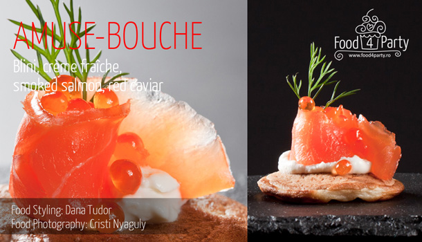 Blini, crème fraîche, smoked salmon, red caviar
