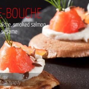Blini, crème fraîche, smoked salmon, black & white sesame